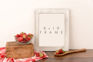 White Barn Wood Frame & Strawberries