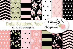 Digital Scrapbook Paper Pink & Black