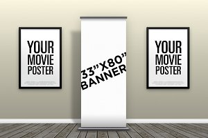 Banner Stand + Two Posters Mockup