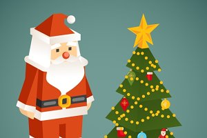 Vector Santa Claus & Christmas Tree