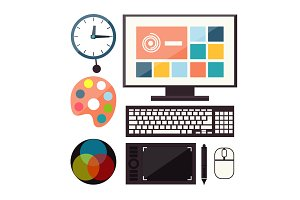Set of colorful graphic, web design