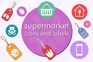 Supermarket icons and labels