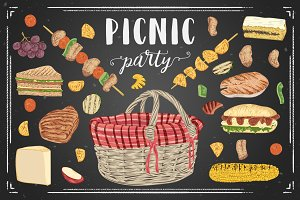 Vector picnic party set