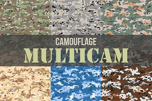 Set of Multicam Camouflage seamless patterns
