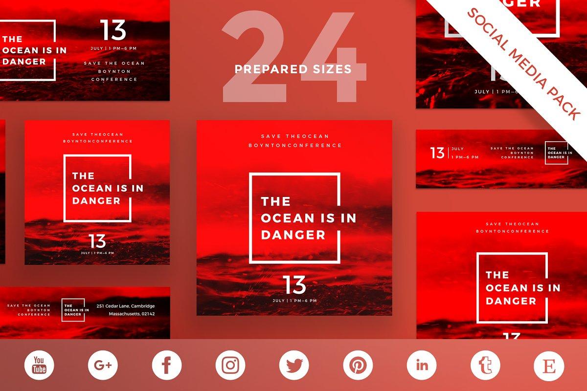 Social Media Pack | Ocean in danger