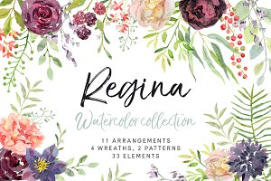 Regina watercolor floral collection