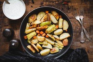 Roasted vegetables in skillet