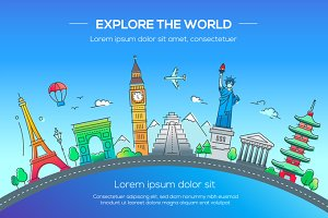 Illustration of flat design postcard with famous world landmark