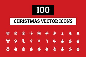 100 Christmas Vector Icons