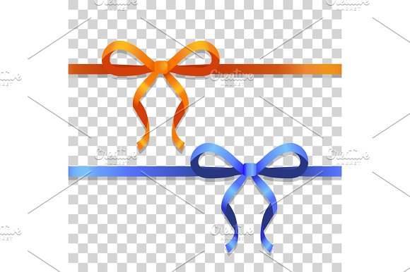 Orange And Blue Narrow Ribbons With Bright Bows
