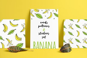 Banana seamless patterns and cards