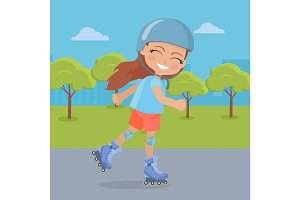 Young Girl in Helmet Roller Skate in Park. Vector