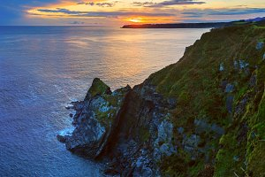 Atlantic sunset coastline, Luarca