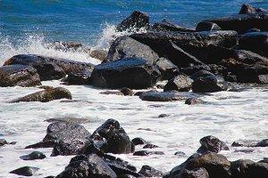 Waves Crashing Rocks Hawaii