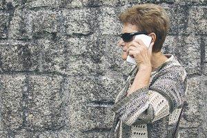 senior woman using cellphone