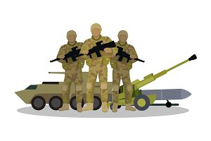 Modern Armed Forces Types Flat Vector Concept