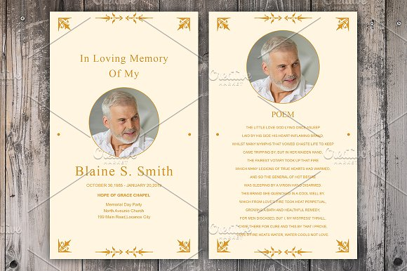 funeral prayer card template card templates creative market