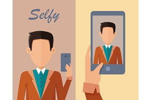 Young Man Making Selfie