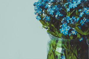 Wild flowers in a glass jar