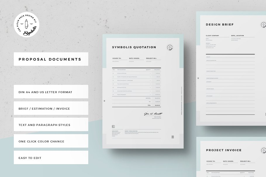 Brief Estimation Invoice Stationery Templates Creative Market
