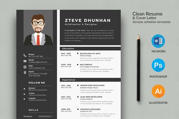 resume 2 page cv template