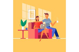 Young couple relaxing on the couch with laptop in their living room at home.Vector illustration