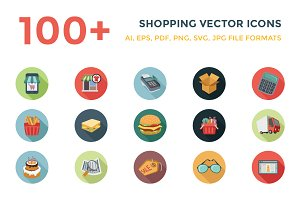 100+ Shopping Flat Vector Icons