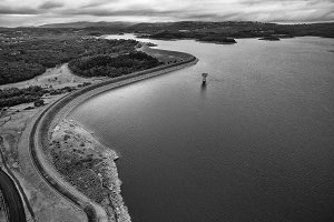 B&W view of Cardinia Reservoir lake