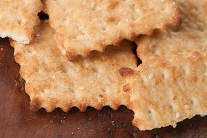 Salted cracker with sesame