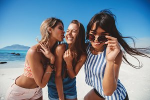 Three female friends having fun