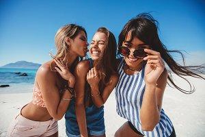 Three female friends having fun