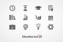 Education icons set. Black on white