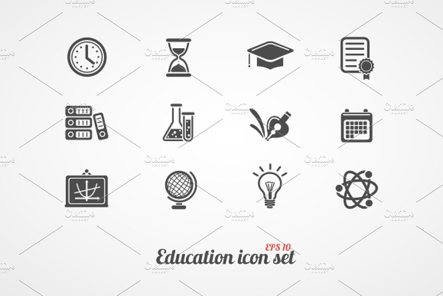 Education icons set. Black on white
