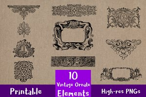 10 Vintage Ornate Elements Clip Art