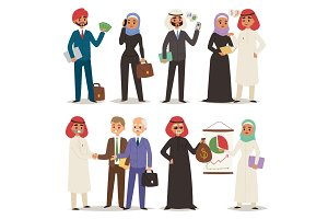 Business arabic people teamwork vector illustration cartoon character arab manager office meeting