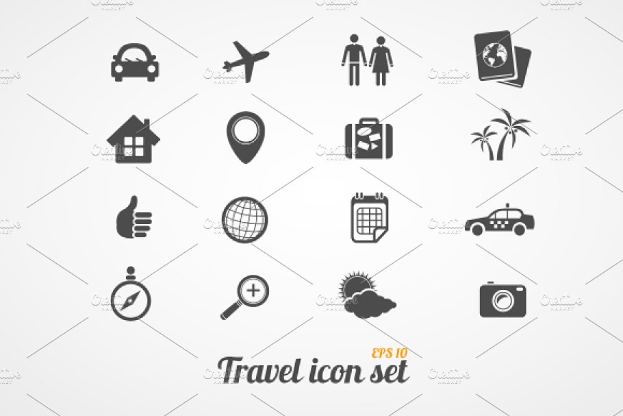 Travel icons set. Black white