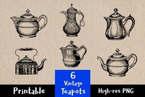 6 Vintage Teapots / Tea Kettles
