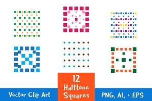 12 Colorful Dotted Halftone Squares