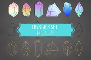 Crystals Set Neon Gold Black