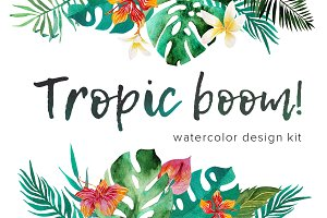Tropic boom! watercolor design kit