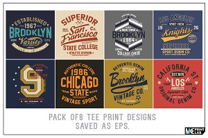 PACK OF 8 TEE PRINT DESIGNS