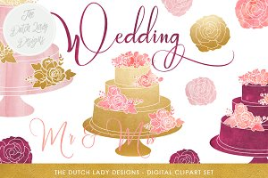 Wedding Cake Clipart Set