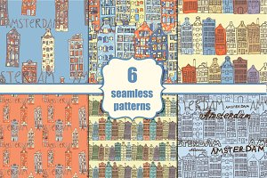 6 Seamless Amsterdam patterns