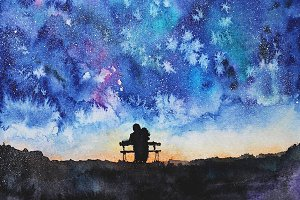 Watercolor night and couple