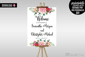 Watercolor Wedding Welcome Poster