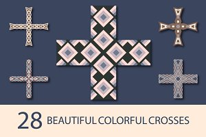 28 colorful crosses