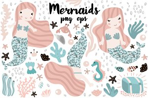 Mermaids + under sea clipart
