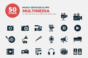 Glyph Icons Multimedia Set
