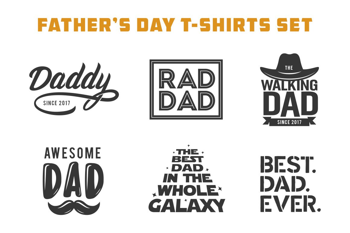 Father's Day T-shirt Design Set ~ Illustrations ~ Creative ...