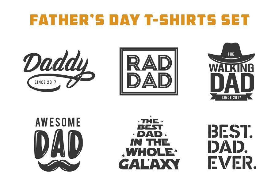 47d38394 Father's Day T-shirt Design Set ~ Illustrations ~ Creative Market